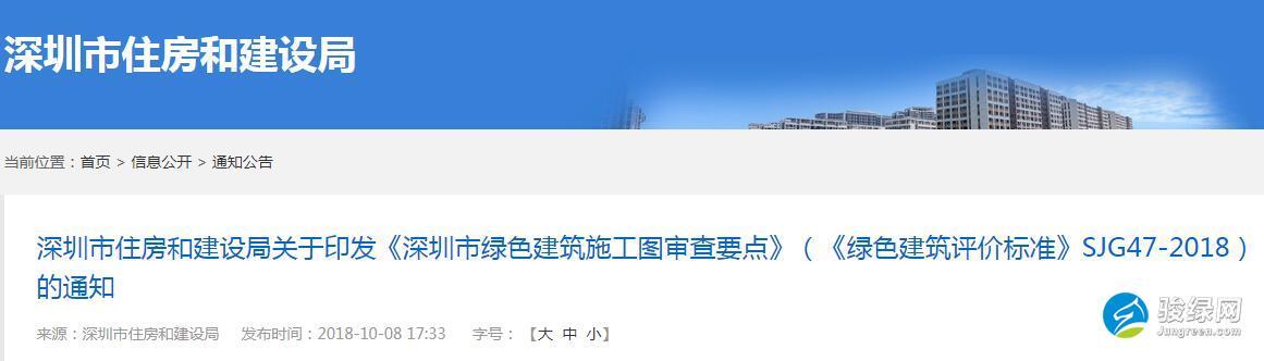 深圳关于印发《深圳市绿色建筑施工图审查要点》(《绿色建筑评价标准》SJG47-2018)的通知